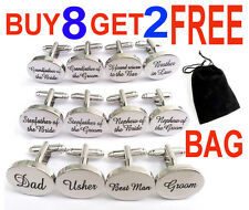 SILVER OVAL mens weddings cufflinks cuff link Groom best man usher page gift BAG