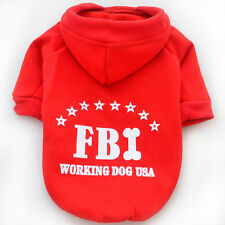 FBI Puppy Pet Dog Red Clothes Hoodie Winter Warm Sweater Coat Costume Apparel