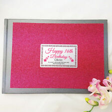 16th Birthday Pink Glitter Guest Book Memory Album - Add a Name & Message