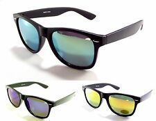 Men Women Classic Wayfarer Black Frame with Mirrored Lens Sunglasses UV 100%