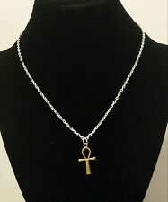 Egyptian Ankh cross antique bronze color silver chain usa shipper seller