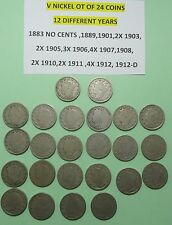 1883-1912-D LIBERTY V NICKELS US five CENT 24 COIN LOT 12 DIFFERENT YEARS G-VGF