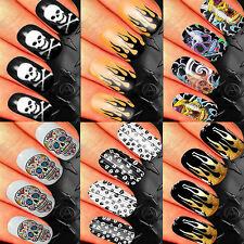 NAIL ART STICKERS WATER TRANSFER DECALS WRAPS SUGAR SKULLS FANTASY GOTHIC FLAMES