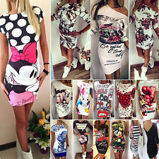 Sexy Womens Floral Cartoon Slim Bodycon Short Mini Dress Party Evening Clubwear