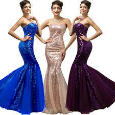 Sequins Long Bridesmaid Formal Evening Cocktail Prom Party Gown Dress Mermaid @