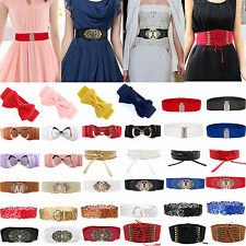 Womens Ladies Bowknot Buckle Wide Elastic Leather Waistband Stretch Waist Belt
