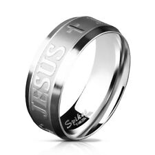 Stainless steel Finger Ring Statementring with engraving Jesus and Cross