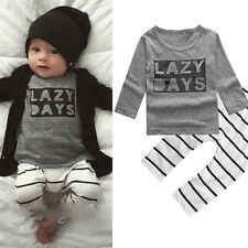 Toddle Baby Boy Letter Print Striped Long Sleeve T-shirt Top Pants Outfit Sassy