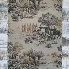 Horse and Hound Hunting Equestrian Dark Tan Brown Linen Designer Chic Wallpaper