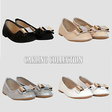 New Womens Ladie Slip On Flat Bow Diamante Flats Evening Party Pumps Shoes Size
