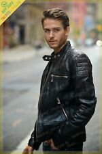 Men's Real Lambskin Black Leather Motorcycle Jacket Slim fit Biker Jacket  AM109