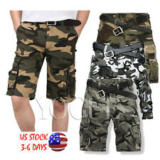 Mens Summer Military Camouflage Cargo Shorts Bermuda Army Camo Baggy Short Pants