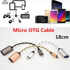 18CM Braided Micro USB Male to USB 2.0 Female Adapter OTG Data Sync Cable Cord