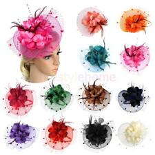 MagiDeal Lady Girls Feather Net Fascinator Hair Band Hat Wedding Party Costume