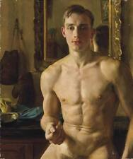 """Handcraft Portrait Oil Painting on Canvas Naked Man Art 24''x36"""""""