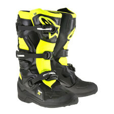 NEW Alpinestars Tech 7s YOUTH KIDS MX Motocross Boots - Black/Fluo Yellow