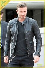 David Beckham Men Lambskin Leather Jacket Genuine Real Fit Biker Motorcycle DB01
