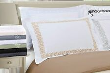 Luxury 100% Wrinkle Resistant Solid Floral Lace Embroidery Duvet Cover Set