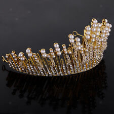 MagiDeal Silver Pearl Tiara Rhinestone Crown Pageant Prom Party Headband