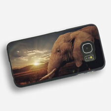 ELEPHANT SUNSET Black Rubber Phone Case Cover Fits Samsung  (SBR)