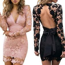Women Mini Bodycon Dress Hollow Out V-Neck Long Sleeves Backless Lace Dress O1J8