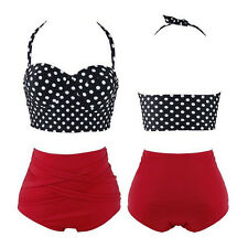 Women Polka Dot New Pin Up Sexy 1 Set Bra + Panty Hot Bikini