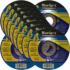 "BlueSpot 115mm 4.5"" Metal Grinding Discs 6mm Thickness Angle Grinder Cutting"
