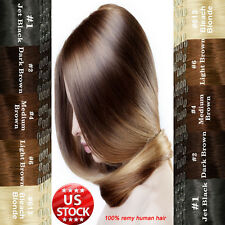 High Quality Black Brown Blonde Clip In Remy Human Hair Extensions Full Head A84
