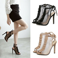 Summer Women's Fringe High Heel Lace Up Mesh Open Toe Strappy Stiletto Sandals