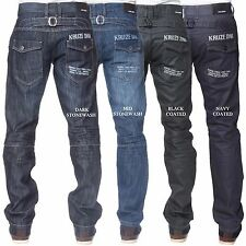 New Branded Kruze Regular Fit Straight Leg Denim Mens Jeans BIG SIZES 28 - 48