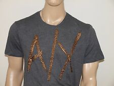 Armani Exchange Authentic Sequin Logo T Shirt Charcoal Heather NWT