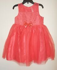 Girls Size 18 Months, 2T, 4T Cherokee Brand Hot Coral Sleeveless Dress NWT