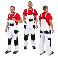 Work Trousers Men Bib and Brace Overalls Painters Knee Pad Decorators White L&H