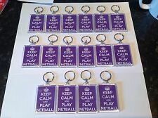 KEEP CALM AND PLAY NETBALL KEYRING,FOB MANY DESIGNS AVAILABLE