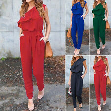 Summer Womens One Shoulder Chiffon Jumpsuit Romper Playsuit Long Pants Trousers