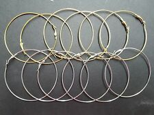 Wholesale 12Pcs Silver & Gold or Mix Metal Large Round Hoops Earrings
