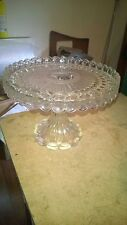 Vintage 7 Inches High 9 Inches Diameter Glass Cake Stand LARGE!