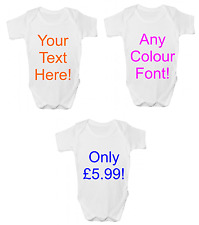 New Funny Personalised Baby Gift YOUR TEXT HERE Baby Grow Bodysuit Vest