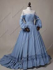 Victorian Civil War Vintage Wedding Dress Gown with Train Theater Clothing 388