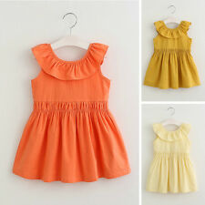 Summer Kids Girl Sweet Cotton Sleeveless Falbala Neck Lace-up Casual Dress 1-7Y