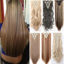 8Pcs Full Head Highlight Clip in Hair Extensions Long Straight Curly Brown Gray