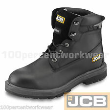 JCB Protector PROTECT Safety BLACK Leather Waterproof Work Boots Steel Toe Cap