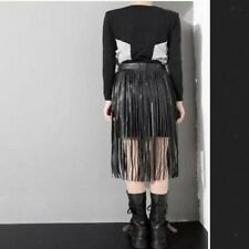Hippie Boho PU Leather Long Wrap Waist Fringe Tassel Skirt Bikini Fringe Belt
