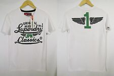 Great Mens XS/XXL Superdry Icarus Duo Reworked Classics T-Shirt in Optic BNWT !!