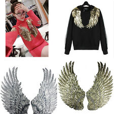 Embroidered iron on patches for clothes Wings design sequins Motif Applique 3C