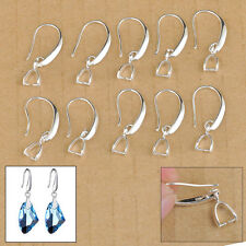 50X Lot Jewelry Findings Earring Bail Pinch Smooth Hook Ear Wires For Crystal