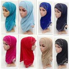 Muslim Islamic Hijab Scarf 2 Pieces Woman Amira Fashion with Disu Hot Drill