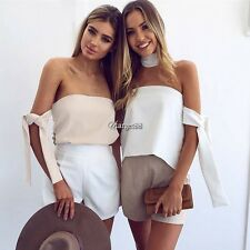 Women Sexy Elegant Strapless Off Shoulder Asymmetrical Blouse Top UTAR02