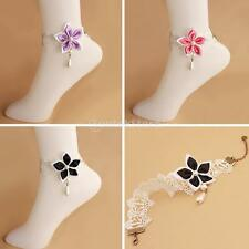 MagiDeal White Lace Chain Anklet Flower Bracelet Barefoot Pearl Beach Anklets