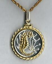 """Singapore 10 Cent """"Seahorse"""" Handmade 24k Gold on Silver Coin Necklace #2"""